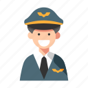 airline, captain, crew, occupation, pilot, plane, professional icon