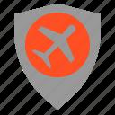 air, airplane, shield, travel icon
