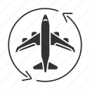 aircraft, airplane, arrow, flight, jet, plane, transit icon