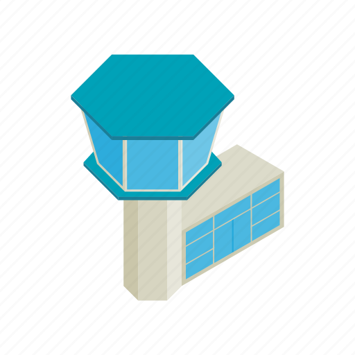 airport, clear, control, isometric, terminal, tower, travel icon