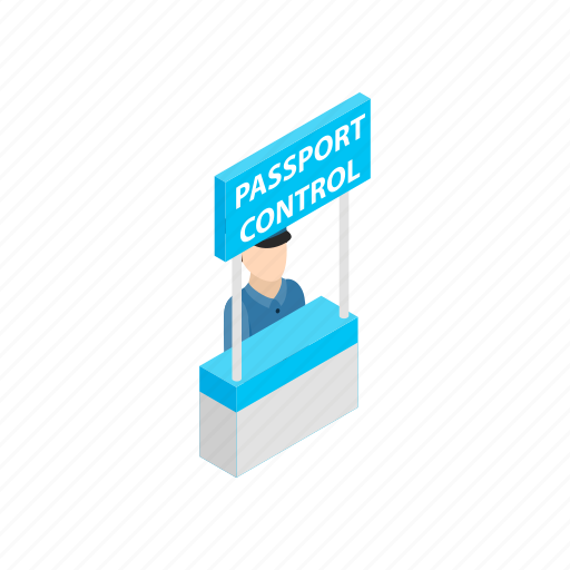 airport, control, fingerprint, isometric, officer, passport, visa icon