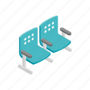 area, chair, empty, isometric, seat, station, waiting icon