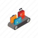 voyage, isometric, conveyor, luggage, baggage, airport, carousel icon