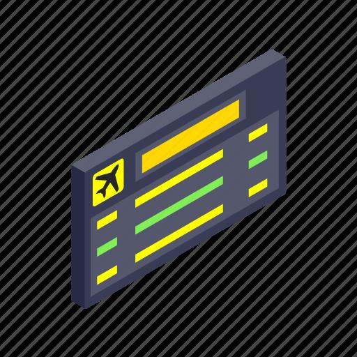 air, airport, board, destination, flight, isometric, travel icon