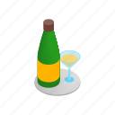 champagne, cocktail, fizz, glass, isometric, toast, wine icon