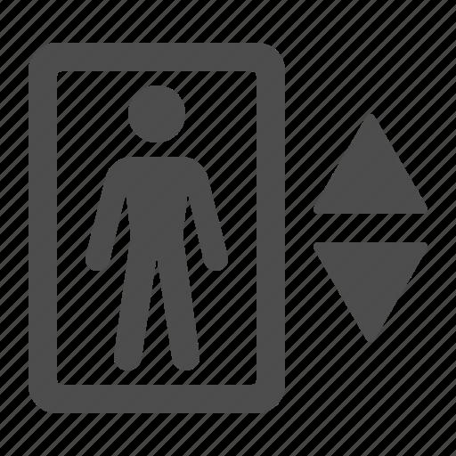 elevator, man, sign icon