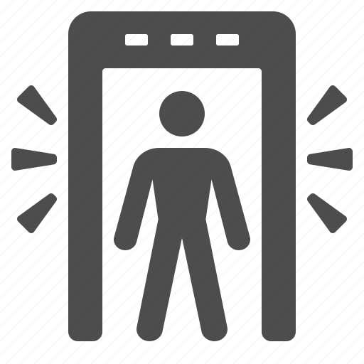 airport, alarm, gate, man, metal detector, security icon