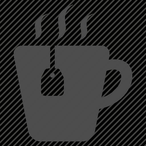 cup, hot, mug, steam, tea, tea bag, teabag icon