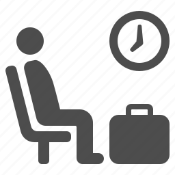 airport, clock, luggage, man, suitcase, waiting, waiting room icon