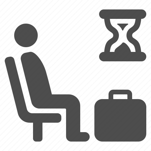 airport, briefcase, hourglass, luggage, man, suitcase, waiting room icon
