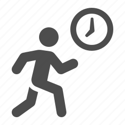 clock, jogging, late, man, running, time icon