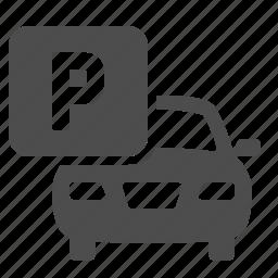 car, lot, park, parking, sign, transportation icon