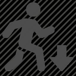 arrow, down, jogging, man, moving, run, running icon