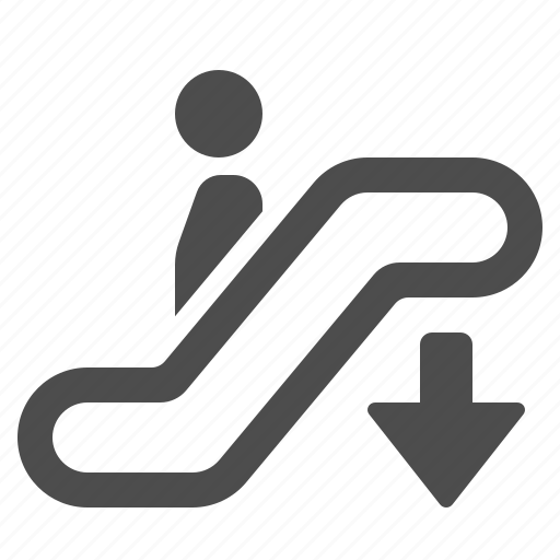 airport, arrow, down, escalator, man, staircase, stairs icon