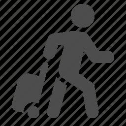 baggage, luggage, man, tourist, travel, troller, walking icon