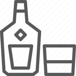 alcohol, bottle, drink, fluid, glass, liquoir, rum, whiskey icon
