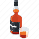 alcohol, bottle, drink, glass, whiskey icon
