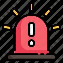 siren, light, exclamation, alarm, warning, message, notification icon