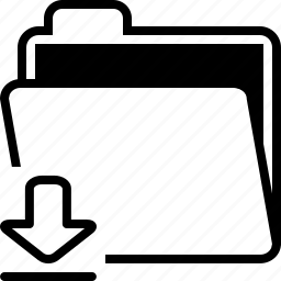 arrow, documents, down, download, file, folder icon