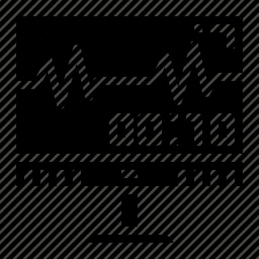 mornitor, sound, wave icon