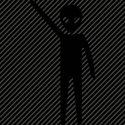 alien, hand, one, raising, ufo icon