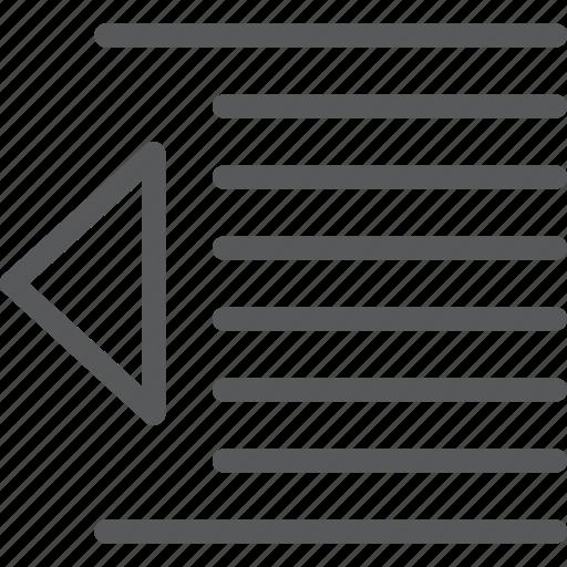 alignment, arrow, decrease, indent, line, script, settings, text icon