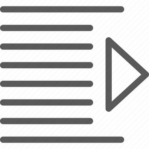 alignment, arrow, increase, indent, line, script, settings, text icon