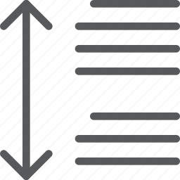 alignment, arrow, line, measure, paragraph, script, spacing, text icon