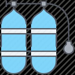 diving, equipment, marine, oxigen, scuba, tubes, underwater icon