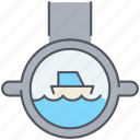 marine, nautical, observe, periscope, sea, submarine, zoom icon