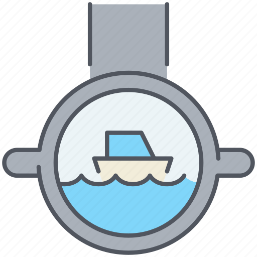 marine, nautical, observe, periscope, sea, submarine, zoom icon
