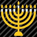 candle, holder, israel, jewish, judaism, light, menorah icon