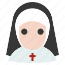 catholic, christ, cross, nun icon