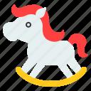 children, playground, rocking horse, toy icon
