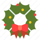 bow, christ, christmas, wreath, xmas icon