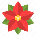christ, christmas, floral, flower, poinsettia, red icon