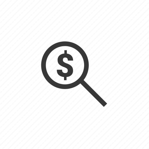 business, dollar, finance, magnifying glass icon