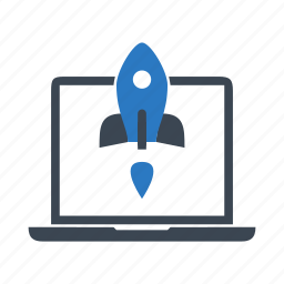 landing, laptop, notebook, rocket, start up, takeoff icon