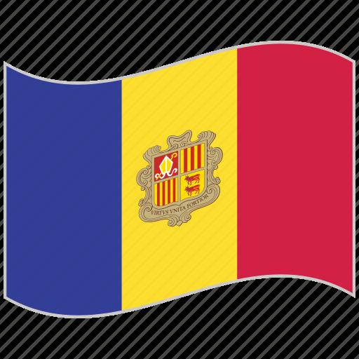 andorra, andorra flag, flag, national flag, waving flag, world flag icon