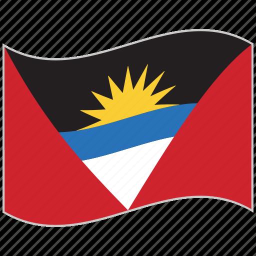 antigua and barbuda, antigua and barbuda flag, flag, national flag, waving flag, world flag icon