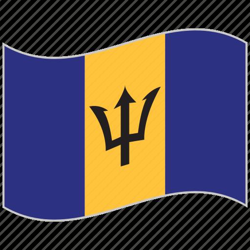 barbados, barbados flag, flag, national flag, waving flag, world flag icon