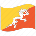 bhutan, bhutan flag, flag, national flag, waving flag, world flag icon