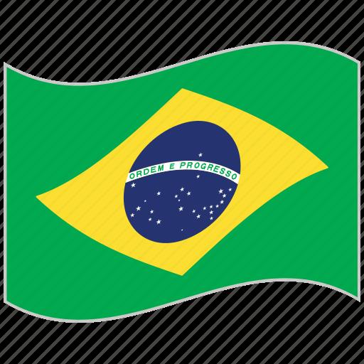 brazil, brazil flag, flag, national flag, waving flag, world flag icon