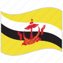 brunei, brunei flag, flag, national flag, waving flag, world flag icon
