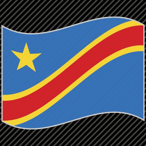 congo, congo flag, flag, national flag, waving flag, world flag icon