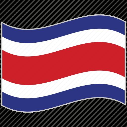 costa rica, costa rica flag, flag, national flag, waving flag, world flag icon