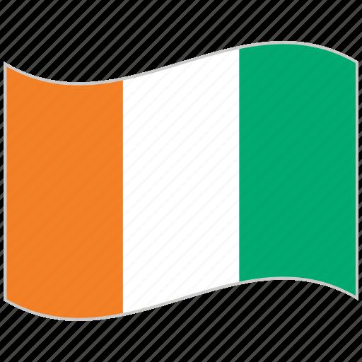 cote d'ivoire, cote d'ivoire flag, flag, national flag, waving flag, world flag icon