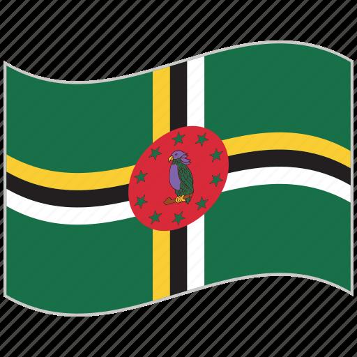dominica, dominica flag, flag, national flag, waving flag, world flag icon