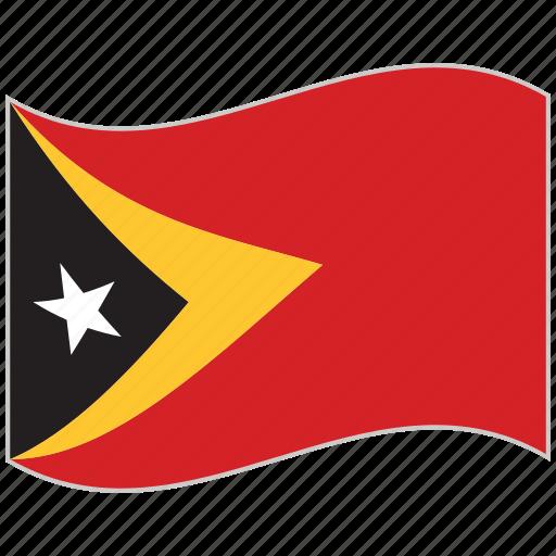 east timor, east timor flag, flag, national flag, waving flag, world flag icon
