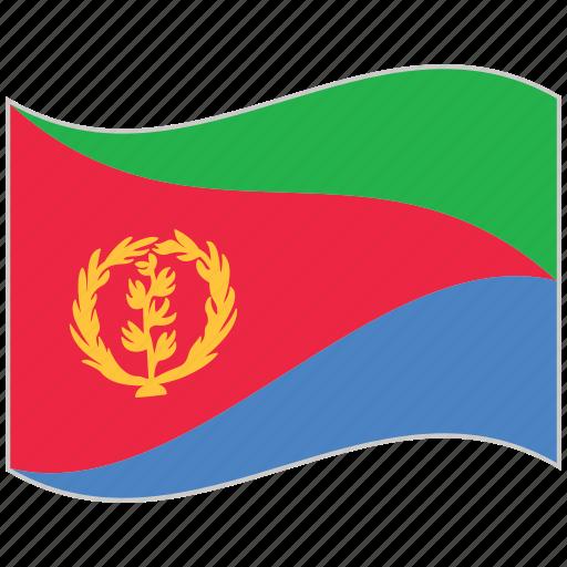 eritrea, eritrea flag, flag, national flag, waving flag, world flag icon